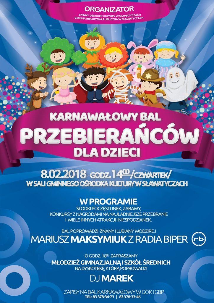 Sławatycze Karnawałowy Bal Przebierańców Dla Dzieci Zaproszenie