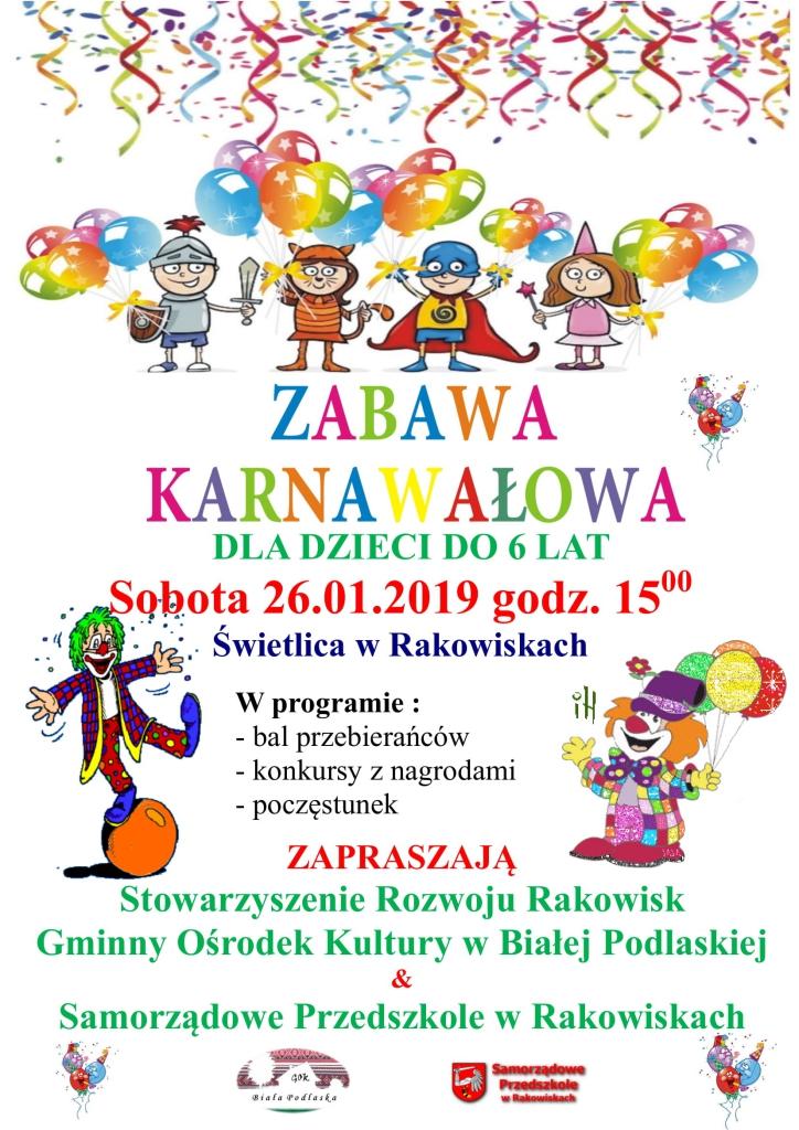 Zabawa Karnawałowa Dla Dzieci W Rakowiskach Zaproszenie
