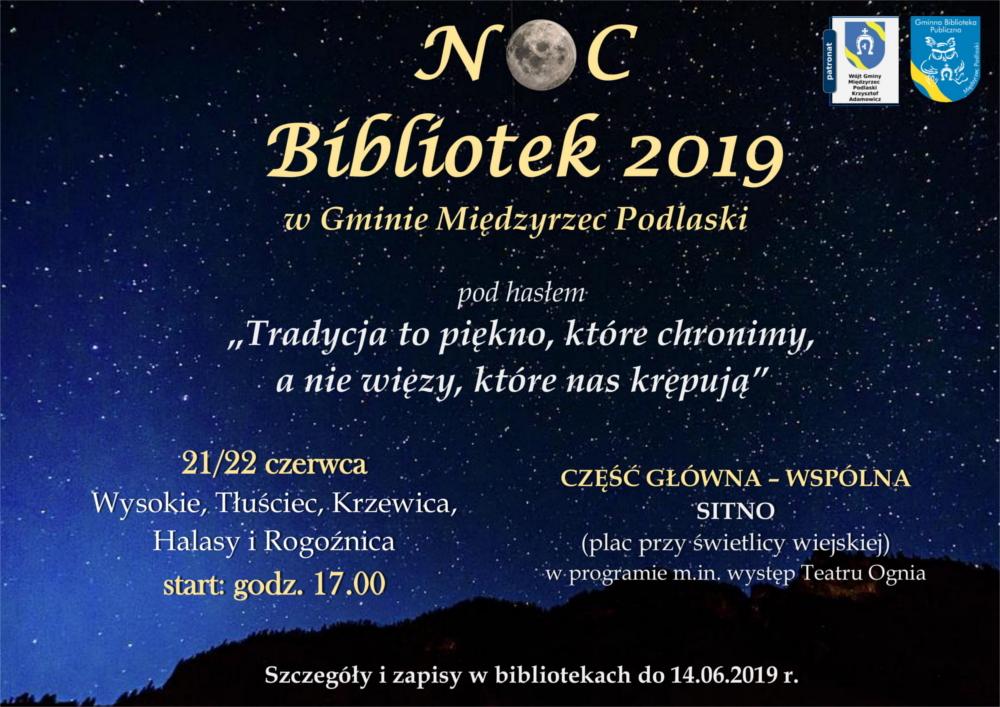 Noc Bibliotek 2019 W Gminie Międzyrzec Podlaski Zaproszenie